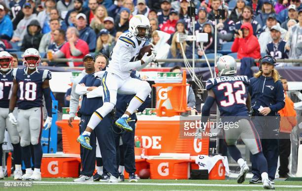 Keenan Allen of the Los Angeles Chargers catches a pass during the third quarter of a game against the New England Patriots at Gillette Stadium on...