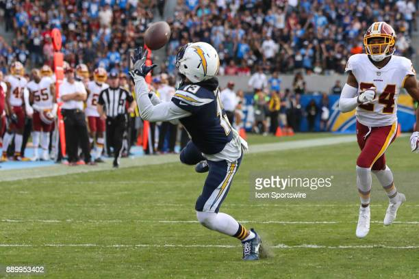 Keenan Allen of the Los Angeles Chargers catches the ball for a gain during a NFL game between the Washington Redskins and the Los Angeles Chargers...