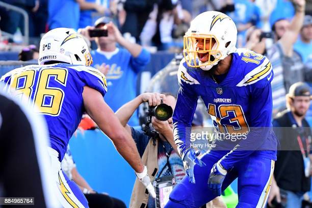 Keenan Allen of the Los Angeles Chargers celebrates a touchdown for a 167 lead during the third quarter of the game against the Cleveland Browns at...