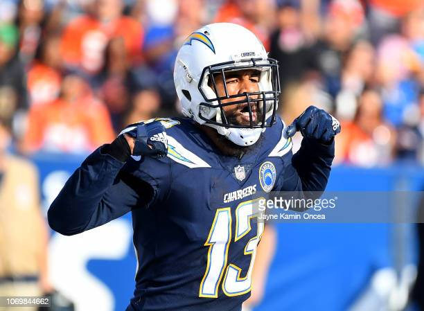 Keenan Allen of the Los Angeles Chargers celebrates after scoring a touchdown in the game against the Denver Broncos at StubHub Center on November 18...
