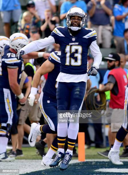 Keenan Allen of the Los Angeles Chargers celebrates the touchdown of Hunter Henry to take a 100 lead over the Washington Redskins during the first...