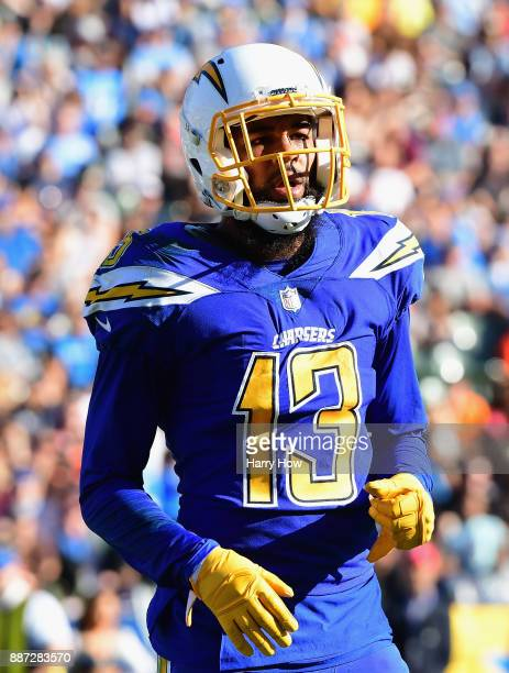 Keenan Allen of the Los Angeles Chargers comes to the line before a snap against the Cleveland Browns at StubHub Center on December 3 2017 in Carson...