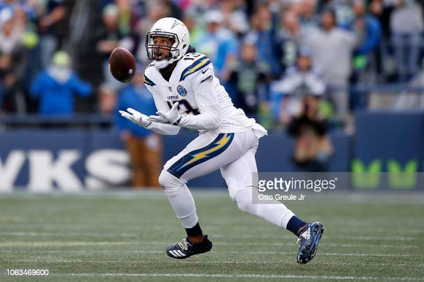 Keenan Allen of the Los Angeles Chargers makes a catch in the second quarter against the Seattle Seahawks at CenturyLink Field on November 04 2018 in...