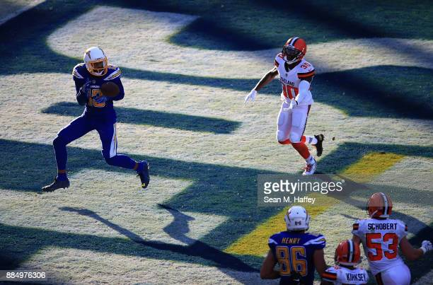 Keenan Allen of the Los Angeles Chargers makes a touchdown reception past Jason McCourty of the Cleveland Browns during the second half of a game at...