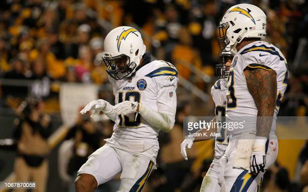 Keenan Allen of the Los Angeles Chargers reacts after a 10 yard touchdown reception in the third quarter during the game against the Pittsburgh...