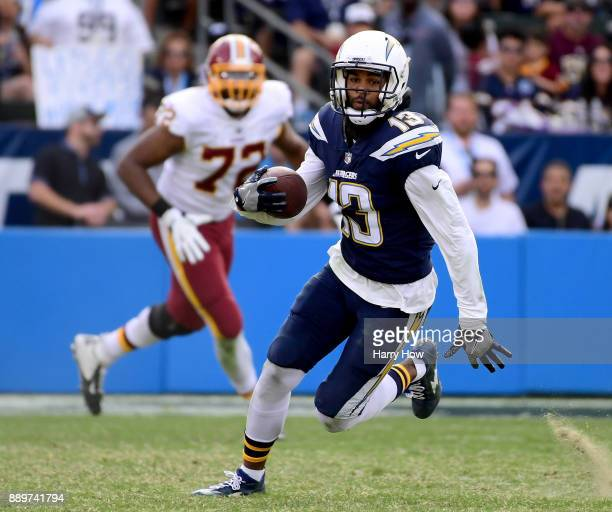 Keenan Allen of the Los Angeles Chargers runs after his catch during the second quarter against the Washington Redskins at StubHub Center on December...