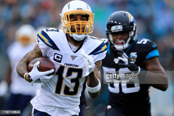 Keenan Allen of the Los Angeles Chargers rushes for yardage during the game against the Jacksonville Jaguars at TIAA Bank Field on December 08, 2019...