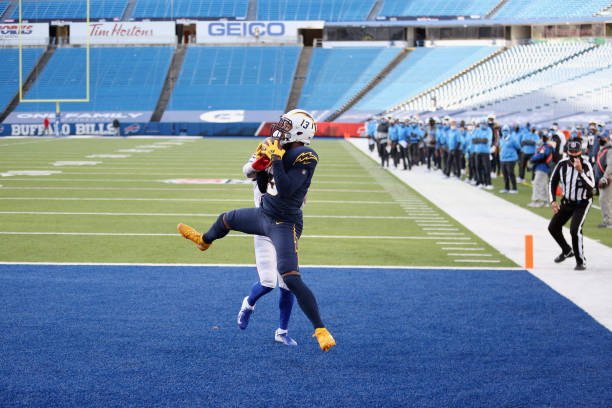 Keenan Allen of the Los Angeles Chargers scores on a two-point conversion attempt during the third quarter against the Buffalo Bills at Bills Stadium...