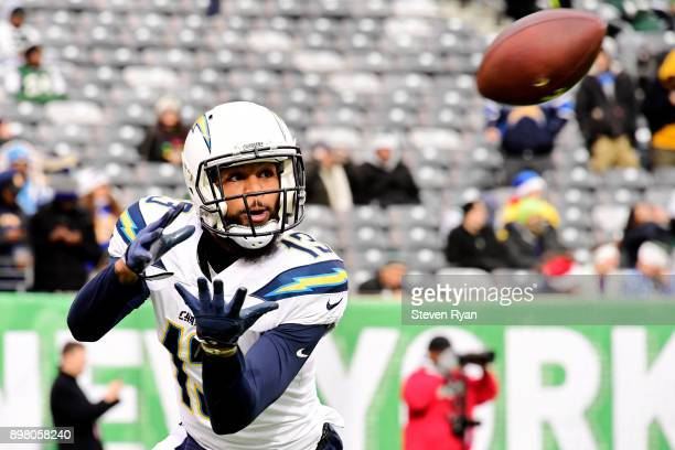 Keenan Allen of the Los Angeles Chargers warms up prior to an NFL game against the New York Jets at MetLife Stadium on December 24 2017 in East...