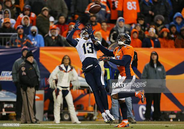 Keenan Allen of the San Diego Chargers catches a fourth quarter touchdown pass over Quentin Jammer of the Denver Broncos during the AFC Divisional...