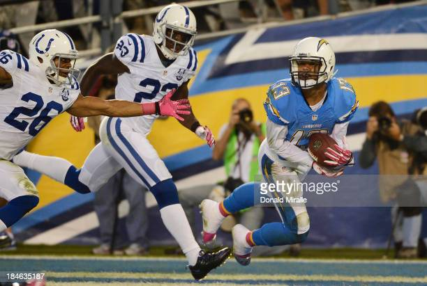 Keenan Allen of the San Diego Chargers catches a touchdown pass against the Indianapolis Colts on October 14, 2013 at Qualcomm Stadium in San Diego,...