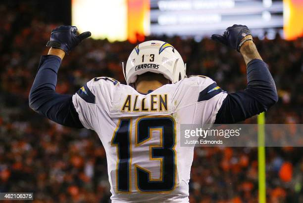 Keenan Allen of the San Diego Chargers celebrates a fourth quarter touchdown against the Denver Broncos during the AFC Divisional Playoff Game at...