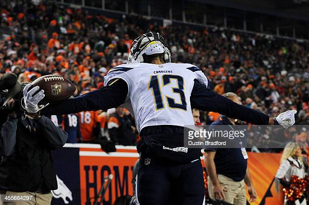 Keenan Allen of the San Diego Chargers celebrates after scoring a second quarter touchdown against the Denver Broncos at Sports Authority Field at...