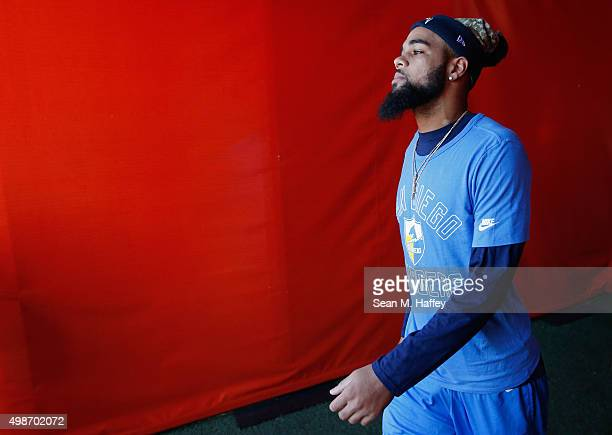Keenan Allen of the San Diego Chargers enters the stadium before a game against the Kansas City Chiefs at Qualcomm Stadium on November 22 2015 in San...