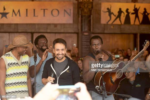 Keenan D Washington Michael Luwoye LinManuel Miranda and Joshua Henry perform onstage during the #Ham4Ham featuring LinManuel Miranda at the Pantages...