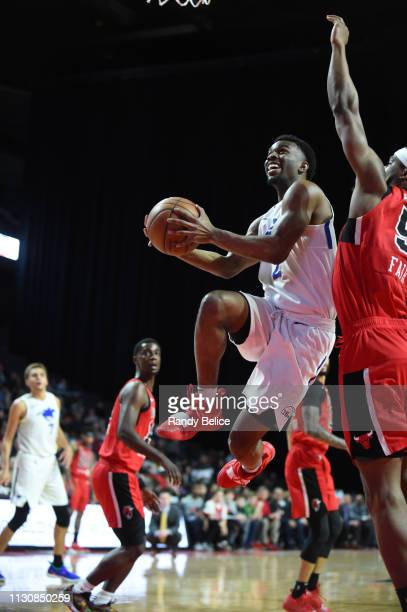 Keenan Evans of the Delaware Blue Coats drives past CJ Fair of the Windy City Bulls during an NBA GLeague game on March 15 2019 at Sears Centre in...