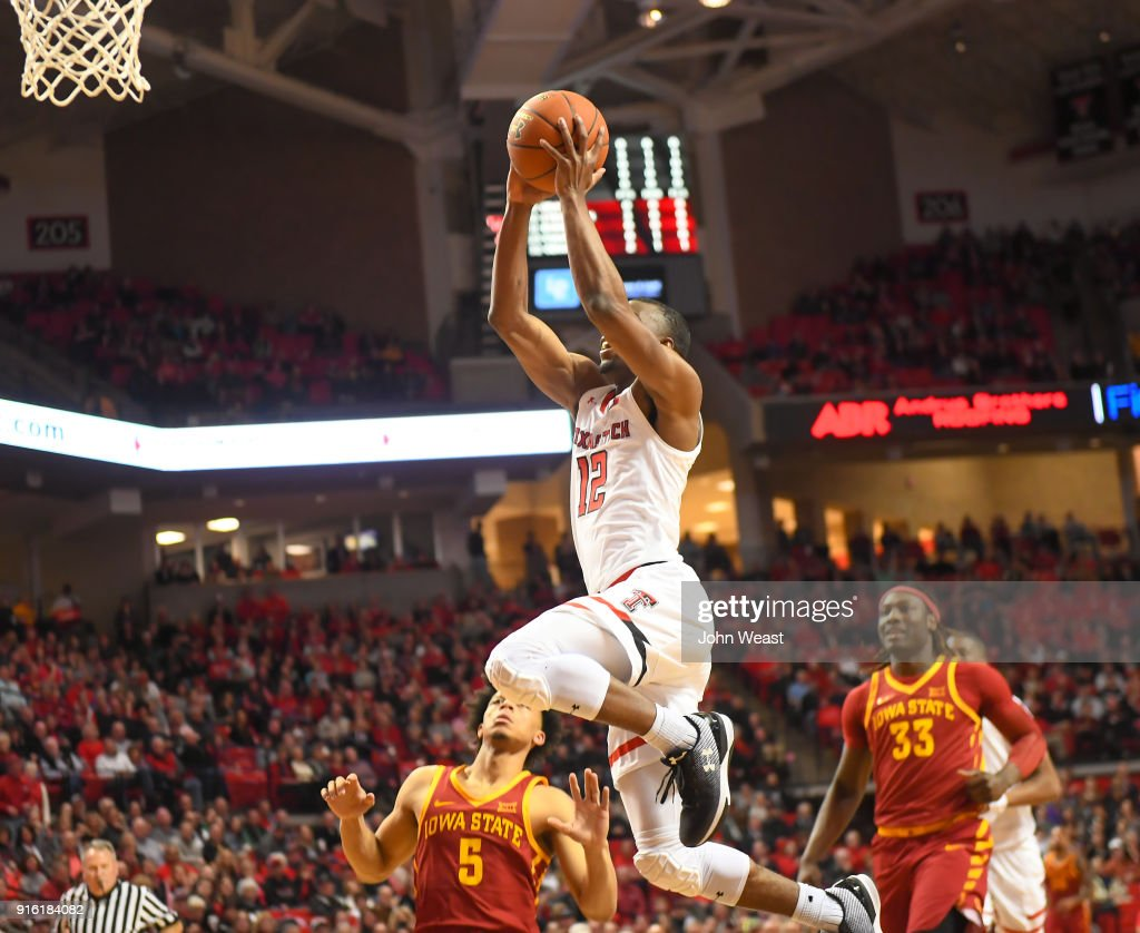 Keenan Evans #12 of the Texas Tech Red Raiders goes to the basket during the game against the Iowa State Cyclones on February 7, 2018 at United Supermarket Arena in Lubbock, Texas. Texas Tech defeated Iowa State 76-58.