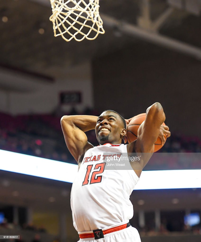 Keenan Evans #12 of the Texas Tech Red Raiders goes to the basket for the slam dunk during the game against the Iowa State Cyclones on February 7, 2018 at United Supermarket Arena in Lubbock, Texas. Texas Tech defeated Iowa State 76-58.