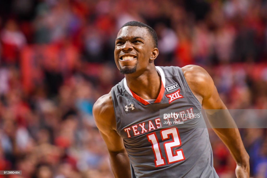 Keenan Evans #12 of the Texas Tech Red Raiders watches his foul shot bounce off the rim late in the game against the Texas Longhorns on January 31, 2018 at United Supermarket Arena in Lubbock, Texas. Texas Tech defeated Texas 73-71 in overtime.