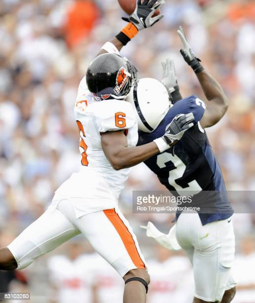 Keenan Lewis of the Oregon State Beavers knocks the ball from Derrick Williams of the Penn State Nittany Lions at Beaver Stadium on September 6 2008...