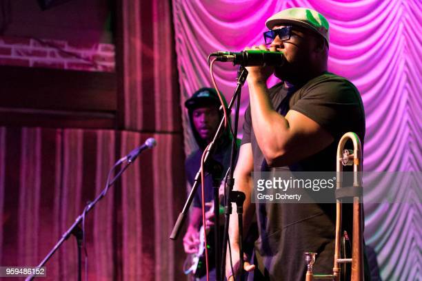 Keenan McRae and 'Big Sam' Williams perform at Big Sam's Funky Nation In Concert Hermosa Beach CA at Saint Rocke on May 16 2018 in Hermosa Beach...