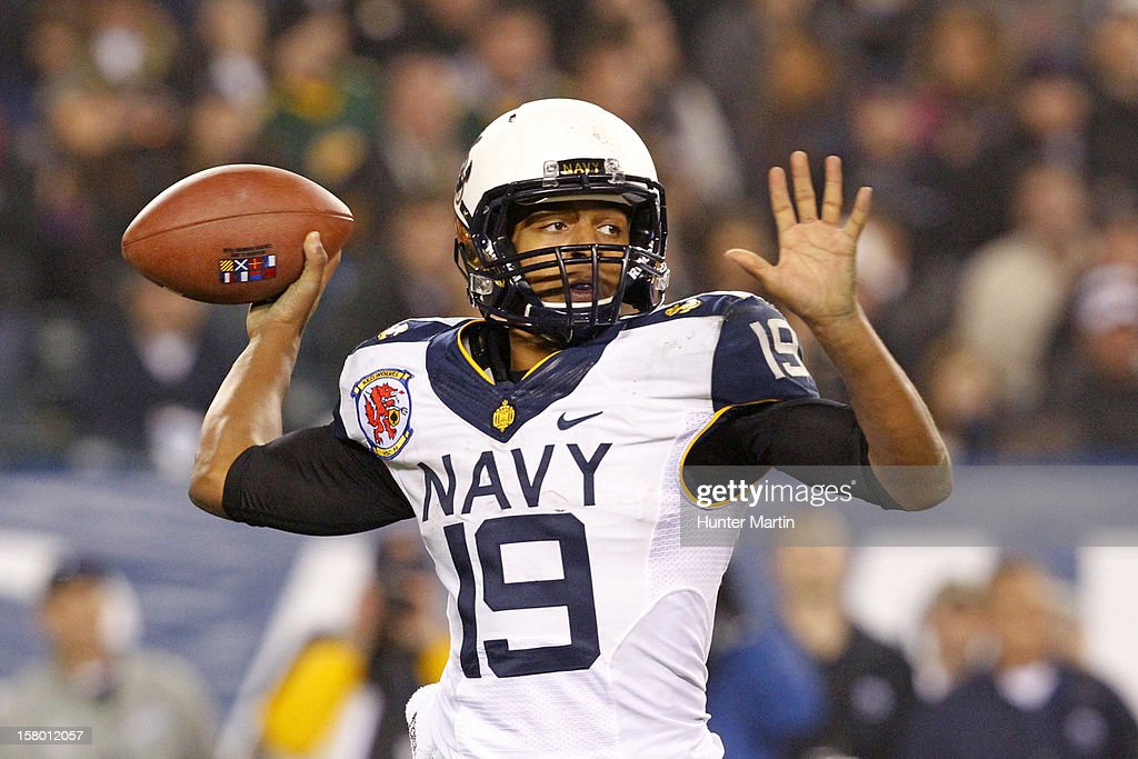 Keenan Reynolds #19 of the Navy Midshipmen throws a pass during a game against the Army Black Knights on December 8, 2012 at Lincoln Financial Field in Philadelphia, Pennsylvania. The Navy won 17-13.