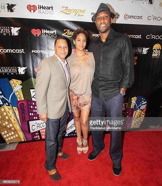 Keenan Towns Tracy Mourning and Alonzo Mourning at JW Marriott Marquis on December 28 2014 in Miami Florida