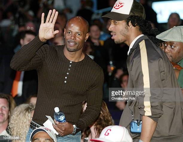 Keenen Ivory Wayans and brother Marlon Wayans during Lennox Lewis vs Vitali Klitschko Ringside at Staples Center in Los Angeles California United...