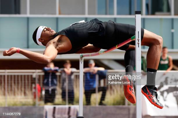 Keenon Laine clears the bar in the men's high jump on the second day of the 61st Mt SAC Relays at Murdock Stadium at El Camino College on April 20...