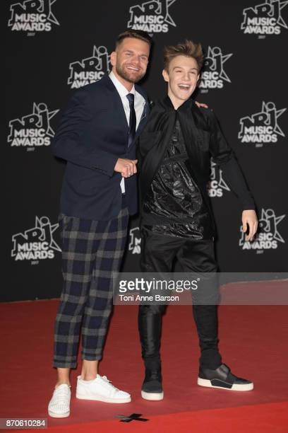 Keen'V and LenniKim arrive at the 19th NRJ Music Awards ceremony at the Palais des Festivals on November 4 2017 in Cannes France