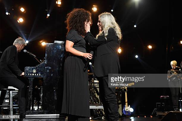 Keep A Child Alive cofounder Alicia Keys and Patti Smith perform onstage during Keep A Child Alive's Black Ball 2016 at Hammerstein Ballroom on...
