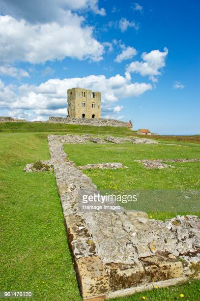 Keep and foundations of the ruined Great Hall, Scarborough Castle, North Yorkshire, 2011. The stone castle dates from the 12th century. Artist Bob...