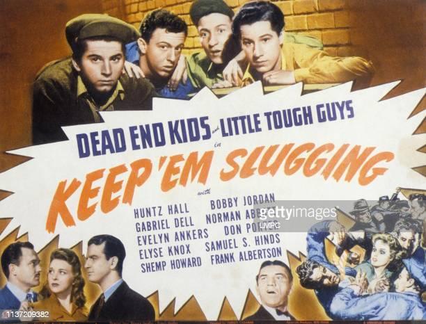 Keep 'em Slugging poster from left top Gabriel Dell Norman Abbott Huntz Hall Bobby Jordan bottom Frank Albertson Evelyn Ankers Shemp Howard 1943
