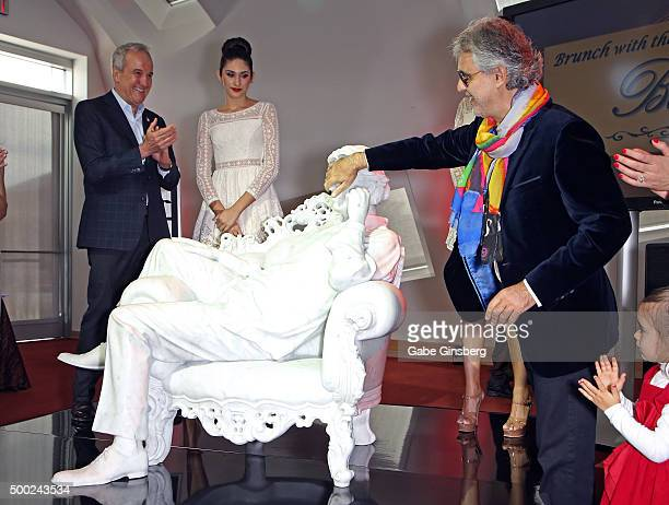 Keep Memory Alive Founder Larry Ruvo and singer Andrea Bocelli unveil 'Omaggio a Andrea Bocelli' during an unveiling of the lifesized statue of...
