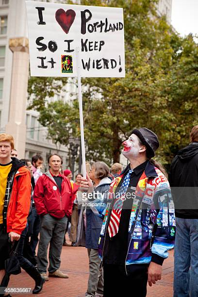 keep portland weird - pioneer square portland stock photos and pictures