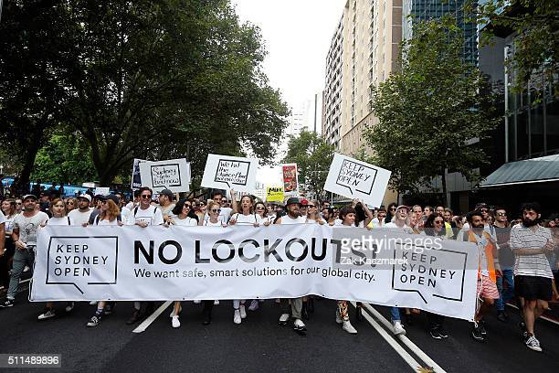 Keep Sydney Open demonstrators are seen on February 21 2016 in Sydney Australia The NSW State Government imposed a range of restrictions on inner...