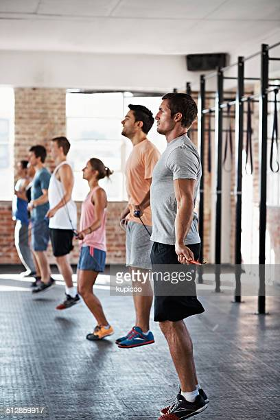 keep up the cardio - circuit training stock photos and pictures