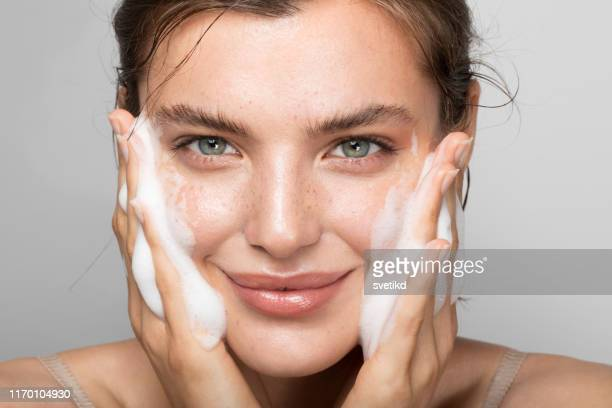 keep your skin clean - caucasian appearance stock pictures, royalty-free photos & images