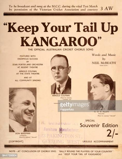 Keep Your Tail Up Kangaroo the Official Australian Cricket Board Song with words and music by Neil McBeath copyright 1932 Four page music score...
