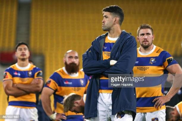 Keepa Mewett of Bay of Plenty look on in disappointment during the Mitre 10 Cup Championship Final match between Wellington and Bay of Plenty at...