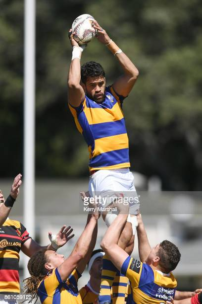 Keepa Mewett of Bay of Plenty takes a lineout during the round nine Mitre 10 Cup match between Bay of Plenty and Waikato at Tauranga Domain on...