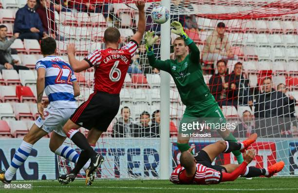 QPR keeper Alex Smithies makes a save from James Vaughn during the Sky Bet Championship match between Sunderland and Queens Park Rangers at Stadium...