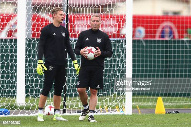 Keeper Bernd Leno and assistent coach Andreas Koepcke during a team Germany training session at Park Arena training ground on June 18 2017 in Sochi...