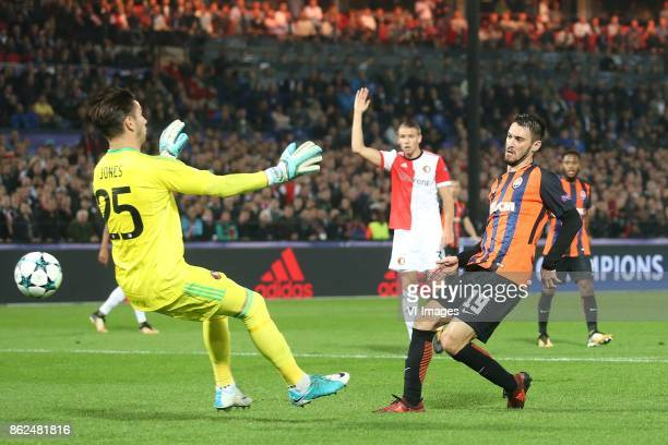 keeper Brad Jones of Feyenoord Facundo Ferreyro of FC Shakhtar Donetsk during the UEFA Champions League group F match between Feyenoord Rotterdam and...