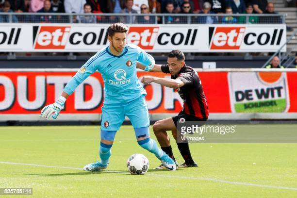 keeper Brad Jones of Feyenoord Zakaria Azzouzi of Excelsior during the Dutch Eredivisie match between sbv Excelsior Rotterdam and Feyenoord Rotterdam...