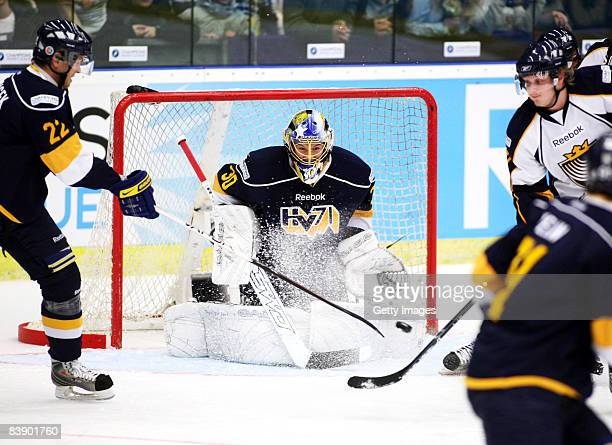 Keeper Christoffer Bengtsberg of Espoo Blues in action during the IIHF Champions Hockey League match between HV 71 Joenkoeping and Espoo Blues on...