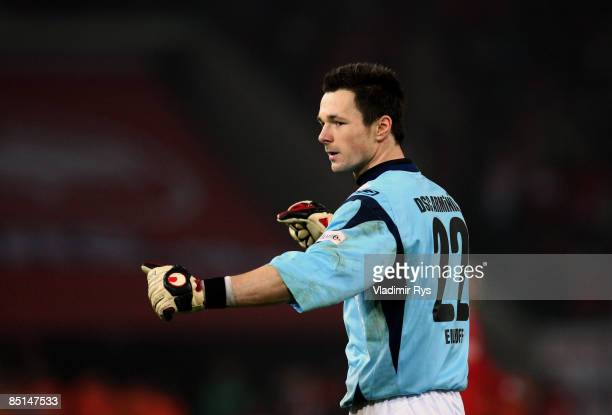Keeper Dennis Eilhoff of Bielefeld celebrates after the final whistle the Bundesliga match between 1 FC Koeln and Arminia Bielefeld at the...