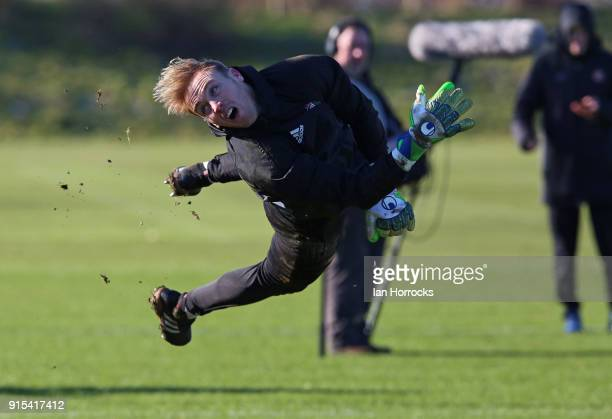 Keeper Jason Steele during a training session at The Academy of Light on February 7 2018 in Sunderland England