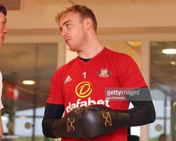 Keeper Jason Steele gets on the gloves as British Lionhearted boxers visit to the Academy of Light on February 6 2018 in Sunderland England