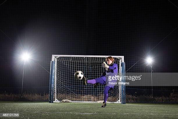 Keeper kicking the ball